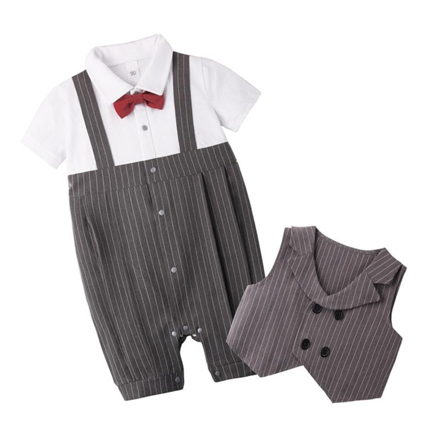 European Clothes Set Bow Tie Short Sleeve Jumpsuit Vest Baby Gentleman
