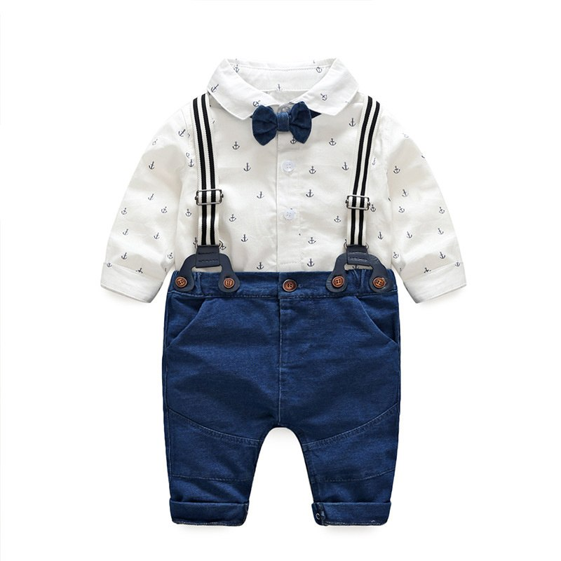 Wedding Birthday Party Baby Boys Clothes Sets Shirt +Bib Outfits