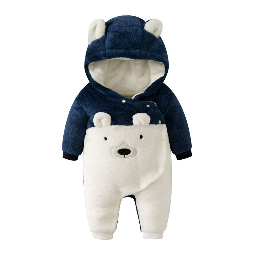 Winter Baby Boy Girl Clothes Bear Hooded Romper Cute Toddler Infant