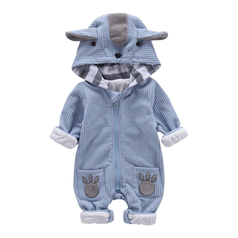 New Autumn Winter Baby Rompers Cute Hooded Cartoon Ear Infant Jumpers