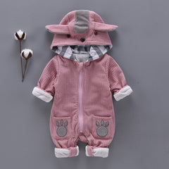 Autumn Winter Baby Rompers Cute Hooded Cartoon Ear Infant Jumpers