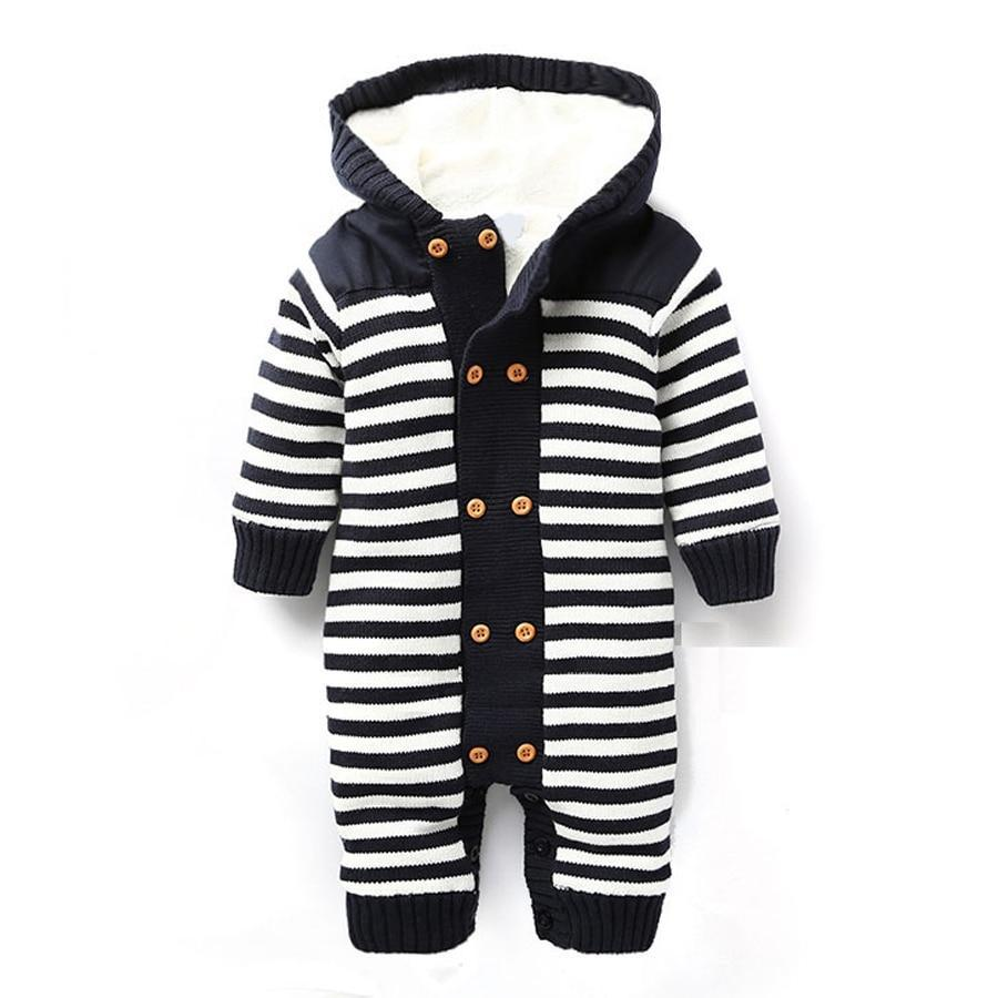 Newborn Autumn Baby Rompers Thickened Winter Striped Hooded Knitted