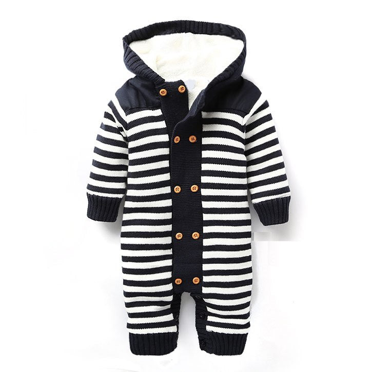 128cf986a23a Newborn Autumn Baby Rompers Thickened Winter Striped Hooded Knitted