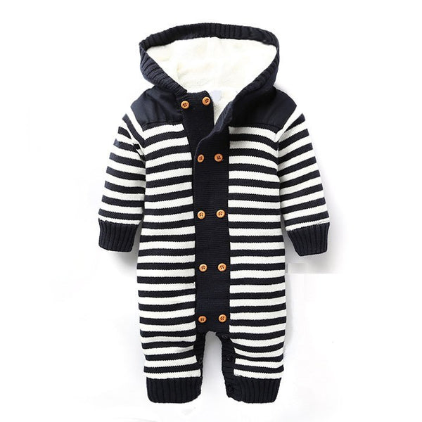 7becb01c3c6 Newborn Autumn Baby Rompers Thickened Winter Striped Hooded Knitted