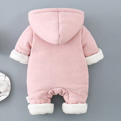 Baby Jumpsuit Outfit Hooded Soft and Warm Fleece Lined Coat Winter Infant Rompers