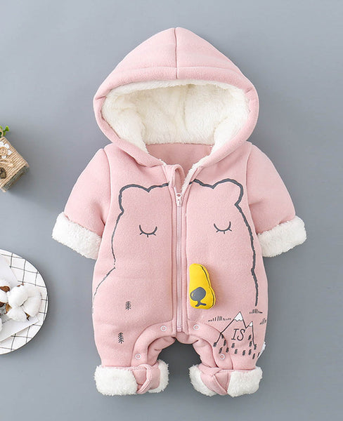7b397d47734fa Baby Jumpsuit Outfit Hooded Soft and Warm Fleece Lined Coat Winter Infant  Rompers