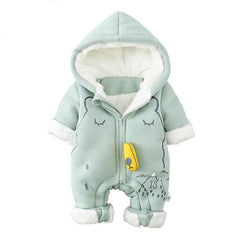 dbeb334886ef Jumpsuit Outfit Hooded Soft and Warm Fleece Lined Coat Infant Rompers