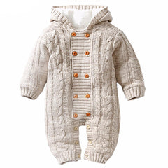 Thick Warm Infant Baby Rompers Winter Newborn Knitted Sweater Jumpsuit