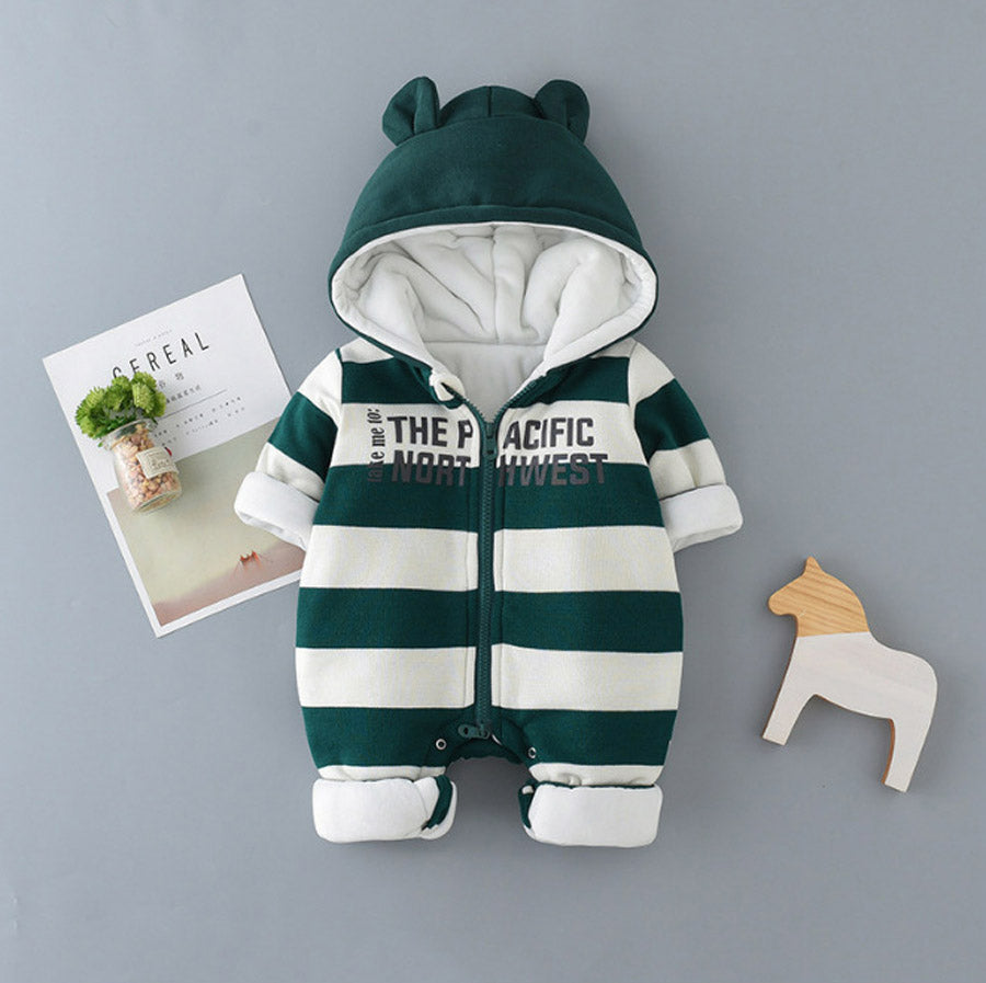 0e12c223223 Winter Newborn Baby Rompers Cute Ears Hooded Cotton Padded Clothes