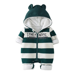 Winter Newborn Baby Rompers Cute Ears Hooded Cotton Padded Clothes