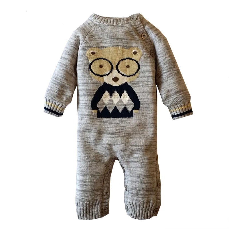 Knitted Romper Cotton Plus Fleece O-Neck Newborn Clothes onesie