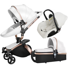 Stroller 3 In 1 Separate Carrycot Black Frame 360 Rotation Carriage
