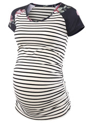 Maternity Baseball Crew Neck Tops Flattering Side Ruching Pregnancy Tunic Tank