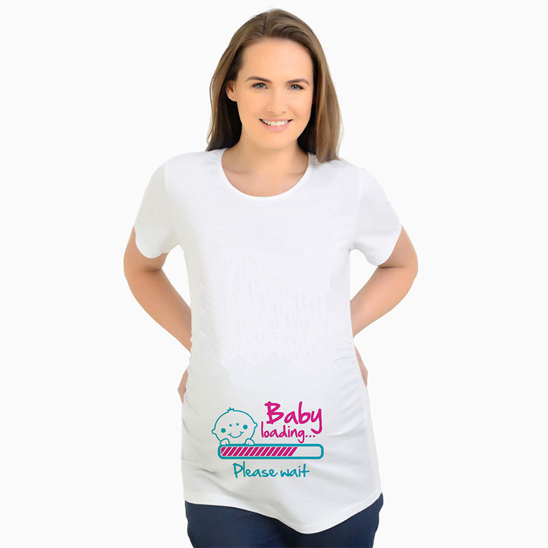 Baby loading print t-shirt pregnant maternity top tee short sleeve