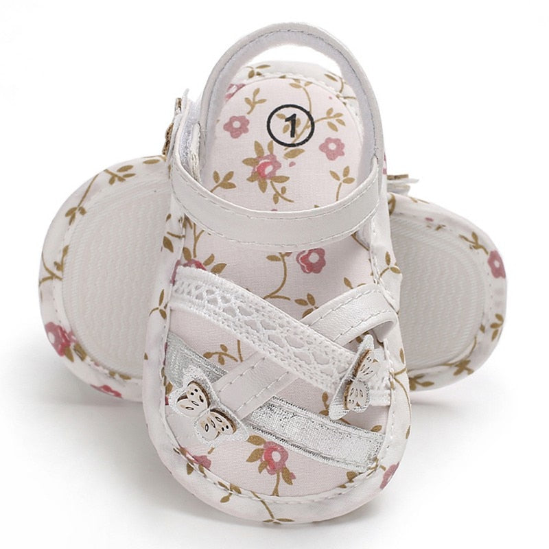 Infant baby sandals Shoes flower printing baby girls sandals soft
