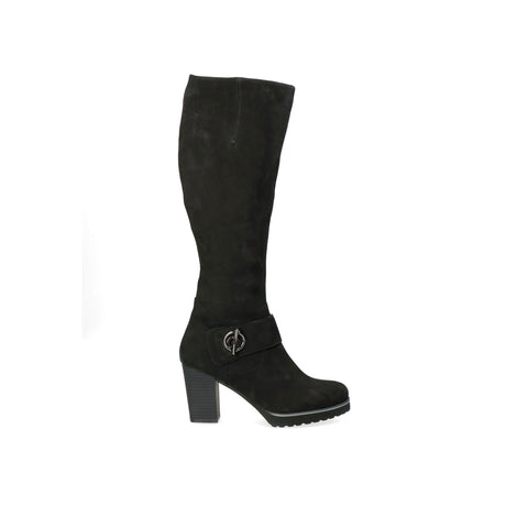 Caprice Black High Heeled Knee-High Boot