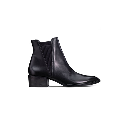 Paul Green Black Leather Ankle Boot