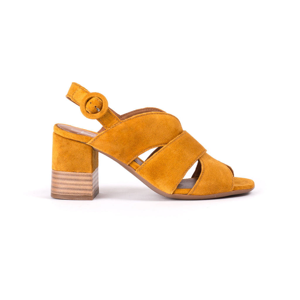 Alpe Mustard Chunky Heel Sandal with adjustable back strap