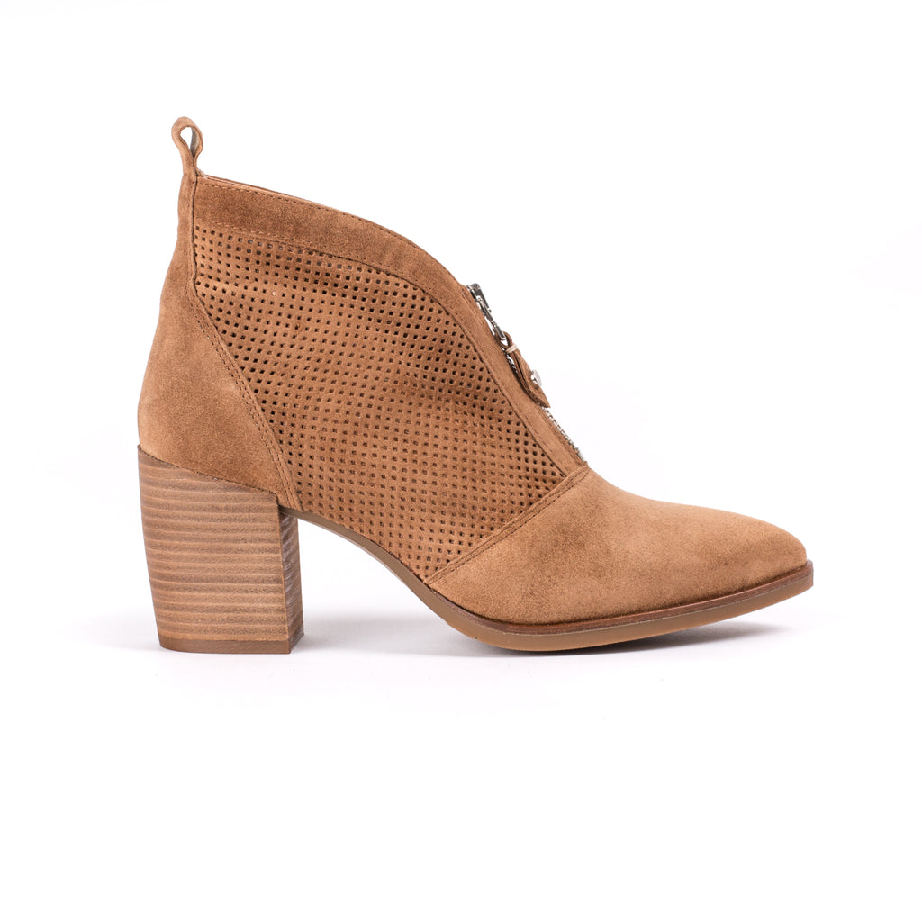 Alpe Zip Front Tan Ankle Boot with Block Heel