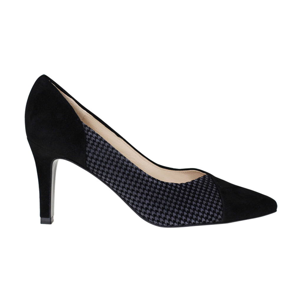 Peter Kaiser Black and Check Detail Mid Heel Shoe - Black