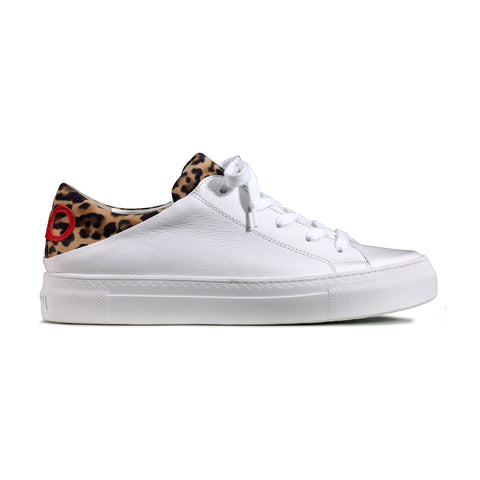 Paul Green White with Leopard Print Trainer 4699