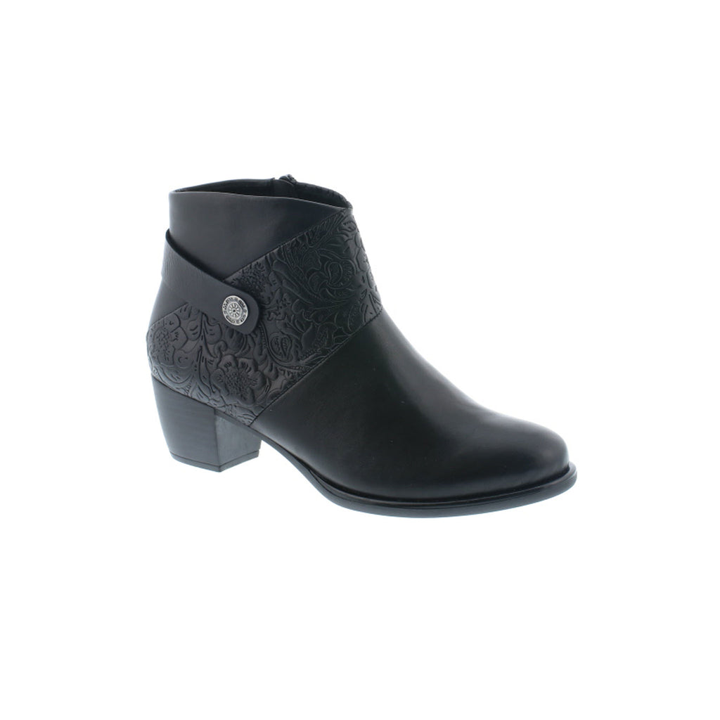 Remonte Black Mid Heel Ankle Boot