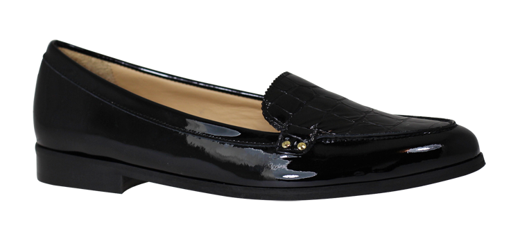 HB Black Mock Croc Effect Loafer - Black