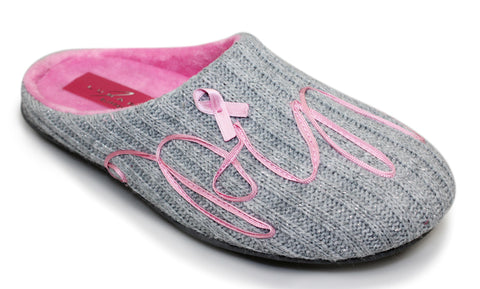 Lunar Grey Pink Ribbon Charity Mule Slipper - Grey