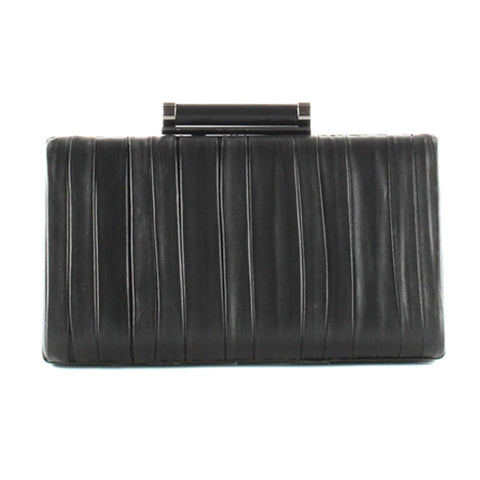 Peter Kaiser Black Leather Pleated Clutch Bag - Black