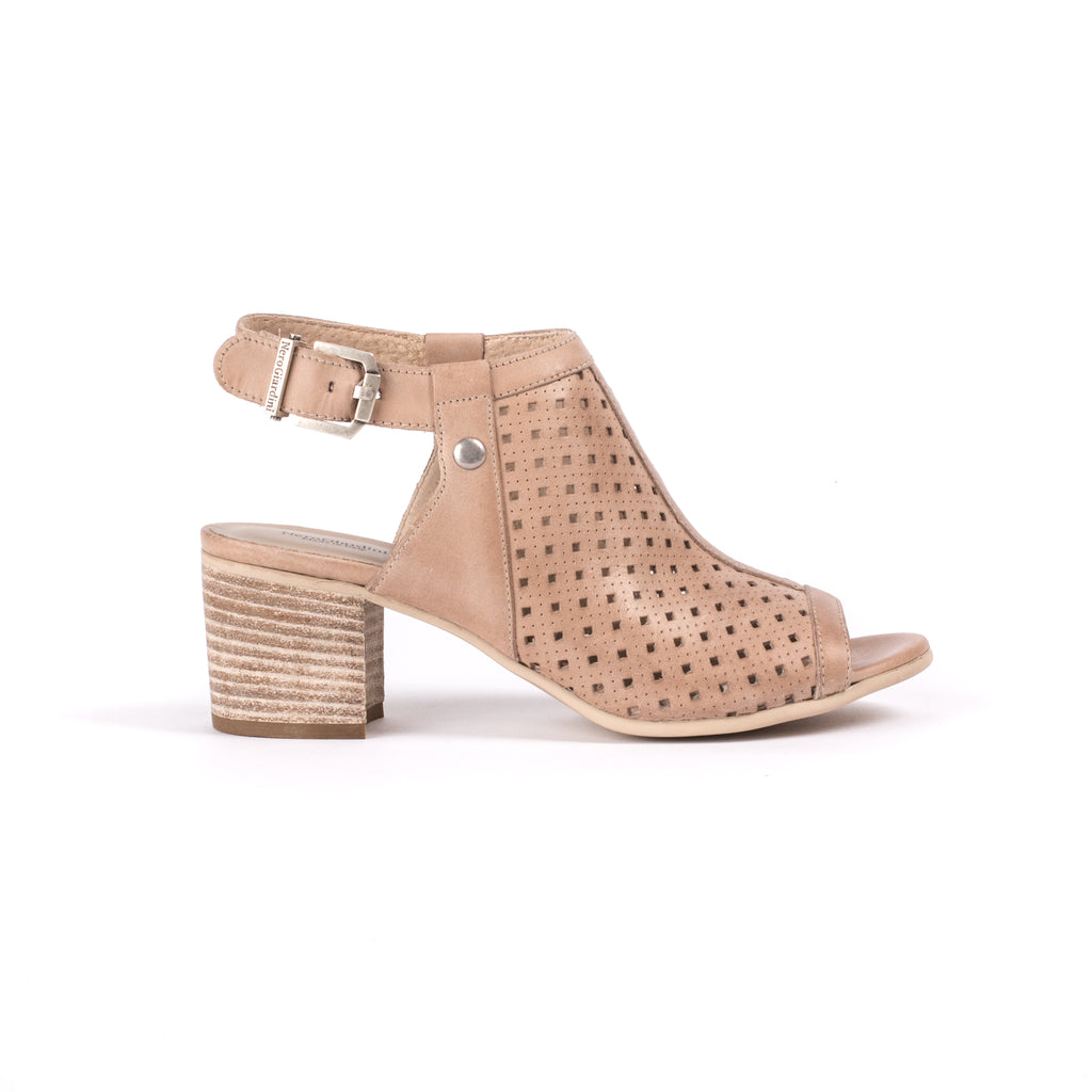 Block heel nude coloured leather high fronted sandel with adjustable ankle strap