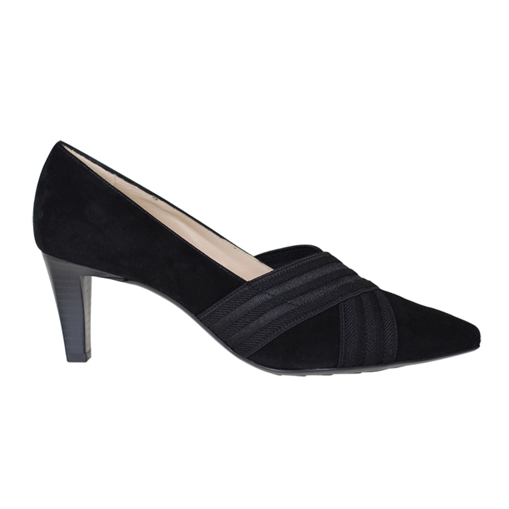 Peter Kaiser Black Suede Ribbed Elastic Detail Shoe - 68829