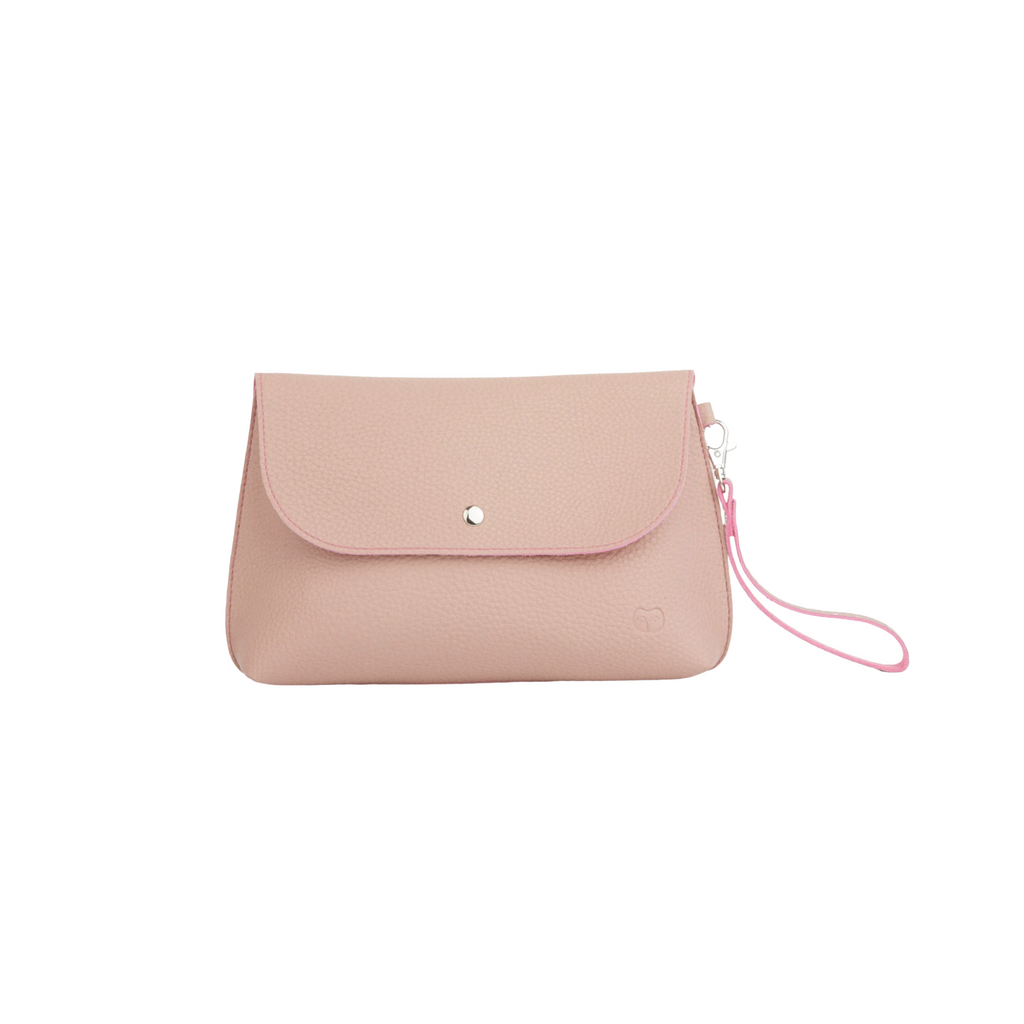 Small light pink clutch bag with handle