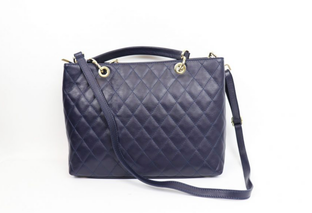 Leather Quilted Handbag - Large F742