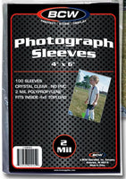 "BCW 100 4x6"" Photo Sleeve Poly Bags Archival Acid Free Two Sizes Available"