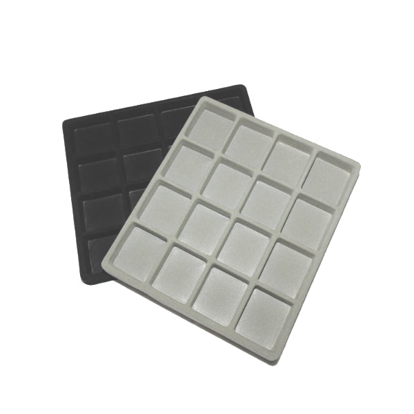 "Flocked Half Tray Liners For 8x7"" Cases 16 Squares"