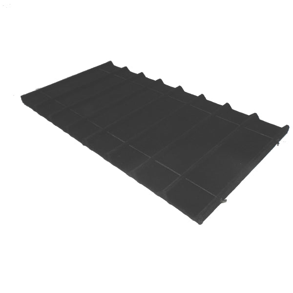 Wood Tray Liner Sectioned 8 Section Black Velvet 14 1/8x7 5/8x1/2""