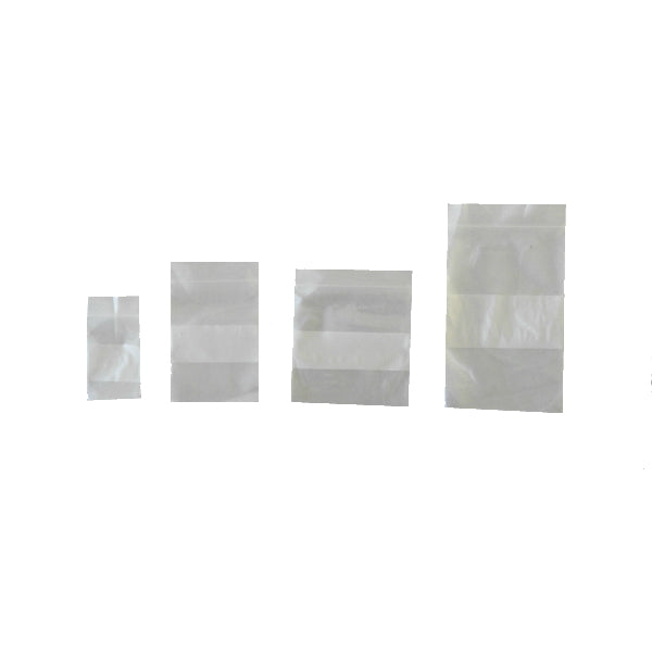 2 Mil Clear Resealable Bags With Block For Labeling Various Sizes - Qty 100
