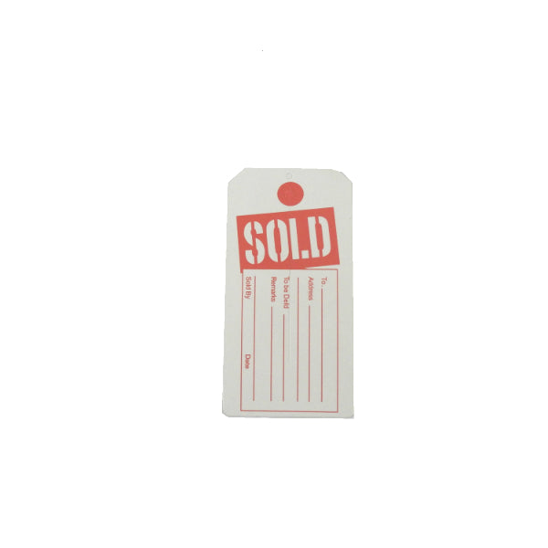 "100 Center Slit ""SOLD"" Furniture Tags 2 3/8x4 3/4"""