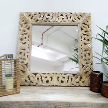 Load image into Gallery viewer, Jane Indian Solid Wood Square Carved Mirror