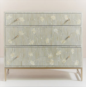 Sarah_Flower Design Bone inlay Chest of 3 Drawers in Grey