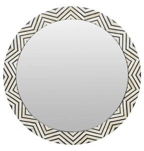 Shea Geometric Black and White Bone Inlay Mirror
