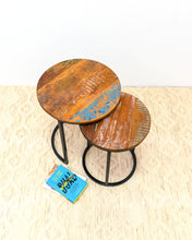 Load image into Gallery viewer, Wesley_Solid Indian Reclaimed Wood Round Nesting Table