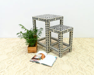 Margo_Bone Inlay Set of 2 Nesting table_Floral