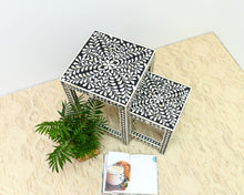 Load image into Gallery viewer, Margo_Bone Inlay Set of 2 Nesting table_Floral