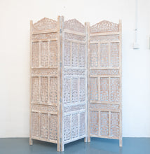 Load image into Gallery viewer, Alan_Wooden Carved Screen 3 Panel_Room Divider_Distressed Finish