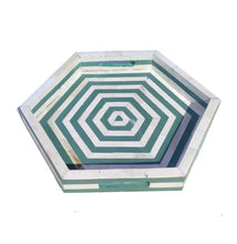 Load image into Gallery viewer, Tissaia_Hexagonal Bone Inlay Tray in Green