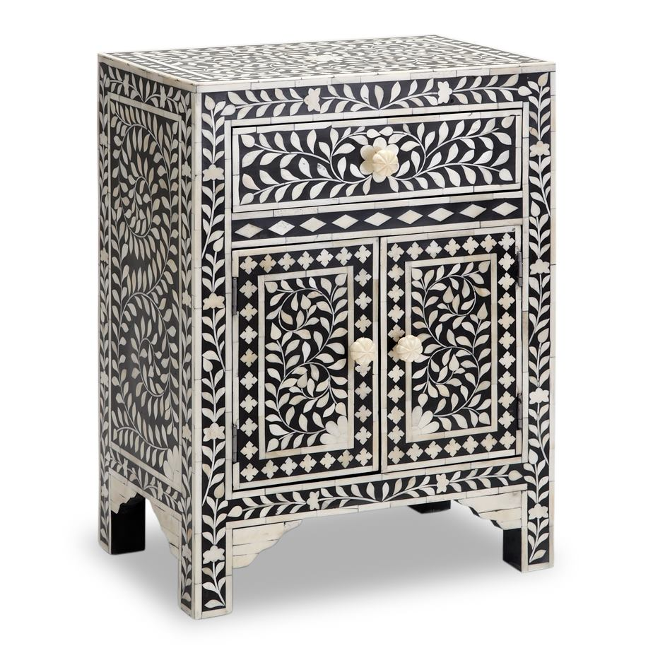 Magdalene Bone Inlay Bed Side Table
