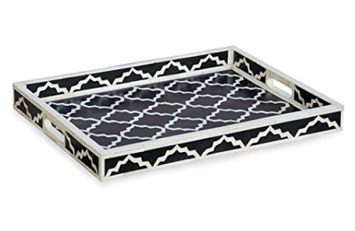 Navya Bone Inlay Tray with Moroccan Pattern