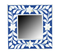 Load image into Gallery viewer, Divoff_Floral Pattern Bone Inlay Photo Frame in Blue _4 x 4