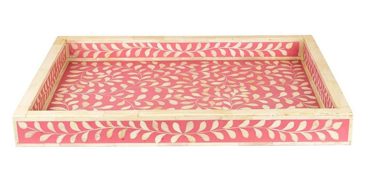 Yashi Bone Inlay Tray with Floral Pattern